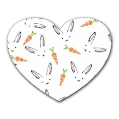 Rabbit Carrot Pattern Weft Step Face Heart Mousepads by Mariart