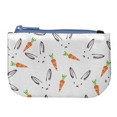 Rabbit Carrot Pattern Weft Step Face Large Coin Purse by Mariart