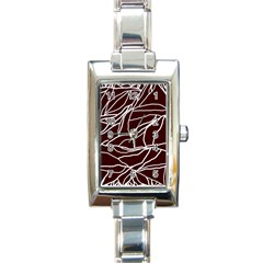 River System Line Brown White Wave Chevron Rectangle Italian Charm Watch