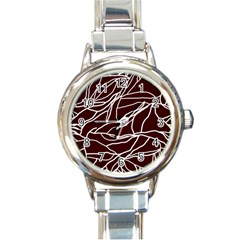 River System Line Brown White Wave Chevron Round Italian Charm Watch by Mariart