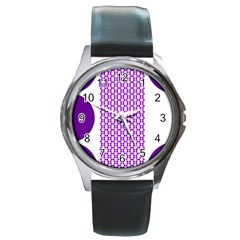 River Hyacinth Polka Circle Round Purple White Round Metal Watch by Mariart