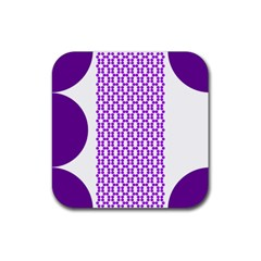 River Hyacinth Polka Circle Round Purple White Rubber Coaster (square)  by Mariart
