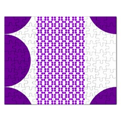 River Hyacinth Polka Circle Round Purple White Rectangular Jigsaw Puzzl by Mariart