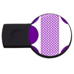 River Hyacinth Polka Circle Round Purple White Usb Flash Drive Round (4 Gb) by Mariart