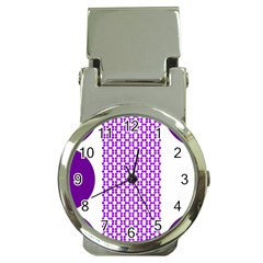 River Hyacinth Polka Circle Round Purple White Money Clip Watches by Mariart