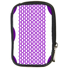 River Hyacinth Polka Circle Round Purple White Compact Camera Cases by Mariart