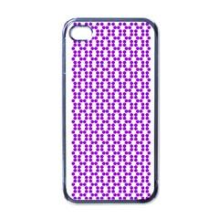 River Hyacinth Polka Circle Round Purple White Apple Iphone 4 Case (black) by Mariart