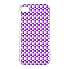 River Hyacinth Polka Circle Round Purple White Apple Iphone 4/4s Hardshell Case With Stand by Mariart