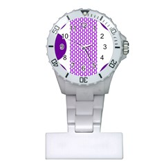 River Hyacinth Polka Circle Round Purple White Plastic Nurses Watch by Mariart