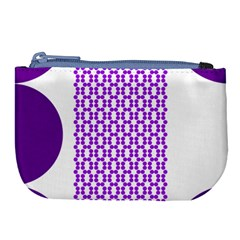 River Hyacinth Polka Circle Round Purple White Large Coin Purse by Mariart
