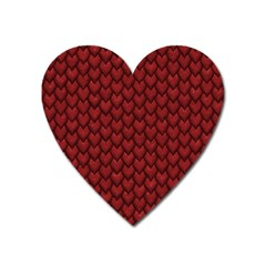 Red Snakeskin Snak Skin Animals Heart Magnet by Mariart