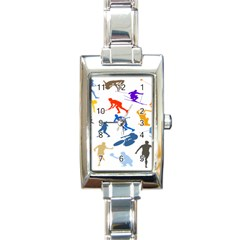 Sport Player Playing Rectangle Italian Charm Watch by Mariart