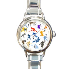 Sport Player Playing Round Italian Charm Watch by Mariart