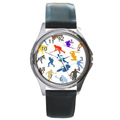Sport Player Playing Round Metal Watch by Mariart