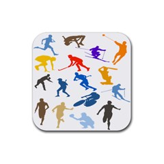 Sport Player Playing Rubber Square Coaster (4 Pack)  by Mariart