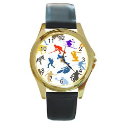 Sport Player Playing Round Gold Metal Watch by Mariart