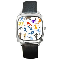 Sport Player Playing Square Metal Watch by Mariart