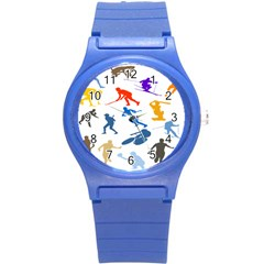 Sport Player Playing Round Plastic Sport Watch (s) by Mariart