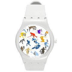 Sport Player Playing Round Plastic Sport Watch (m) by Mariart