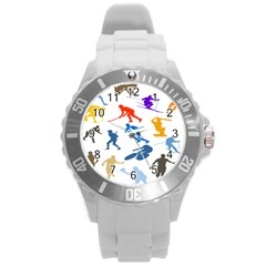 Sport Player Playing Round Plastic Sport Watch (l) by Mariart
