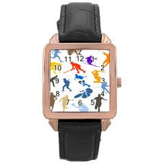 Sport Player Playing Rose Gold Leather Watch  by Mariart