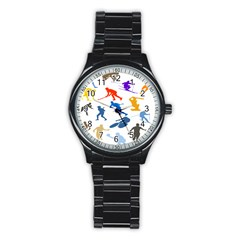 Sport Player Playing Stainless Steel Round Watch by Mariart