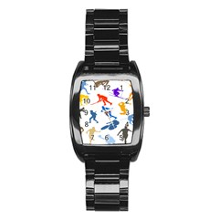 Sport Player Playing Stainless Steel Barrel Watch by Mariart