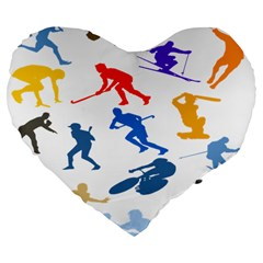 Sport Player Playing Large 19  Premium Flano Heart Shape Cushions by Mariart