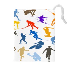 Sport Player Playing Drawstring Pouches (extra Large) by Mariart