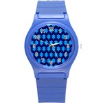 Star Blue Space Wave Chevron Sky Round Plastic Sport Watch (S) Front