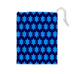 Star Blue Space Wave Chevron Sky Drawstring Pouches (large)  by Mariart