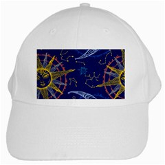 Sun Moon Seamless Star Blue Sky Space Face Circle White Cap by Mariart
