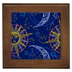 Sun Moon Seamless Star Blue Sky Space Face Circle Framed Tiles by Mariart