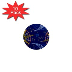 Sun Moon Seamless Star Blue Sky Space Face Circle 1  Mini Magnet (10 Pack)