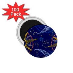 Sun Moon Seamless Star Blue Sky Space Face Circle 1 75  Magnets (100 Pack)  by Mariart