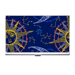 Sun Moon Seamless Star Blue Sky Space Face Circle Business Card Holders by Mariart