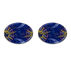 Sun Moon Seamless Star Blue Sky Space Face Circle Cufflinks (oval) by Mariart