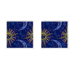 Sun Moon Seamless Star Blue Sky Space Face Circle Cufflinks (square) by Mariart