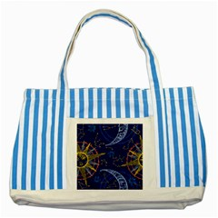 Sun Moon Seamless Star Blue Sky Space Face Circle Striped Blue Tote Bag by Mariart