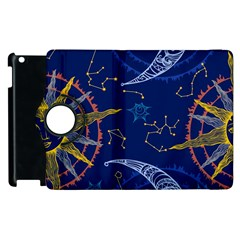 Sun Moon Seamless Star Blue Sky Space Face Circle Apple Ipad 3/4 Flip 360 Case by Mariart