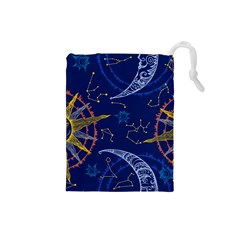 Sun Moon Seamless Star Blue Sky Space Face Circle Drawstring Pouches (small)  by Mariart
