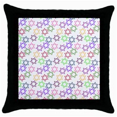 Star Space Color Rainbow Pink Purple Green Yellow Light Neons Throw Pillow Case (black) by Mariart