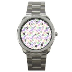 Star Space Color Rainbow Pink Purple Green Yellow Light Neons Sport Metal Watch by Mariart
