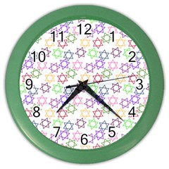 Star Space Color Rainbow Pink Purple Green Yellow Light Neons Color Wall Clocks by Mariart
