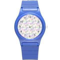 Star Space Color Rainbow Pink Purple Green Yellow Light Neons Round Plastic Sport Watch (s) by Mariart