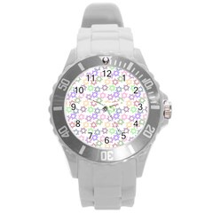 Star Space Color Rainbow Pink Purple Green Yellow Light Neons Round Plastic Sport Watch (l) by Mariart