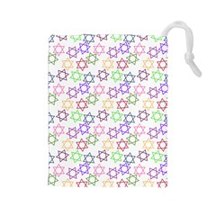 Star Space Color Rainbow Pink Purple Green Yellow Light Neons Drawstring Pouches (large)  by Mariart