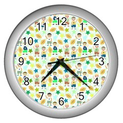 Kids Football Players Playing Sports Star Wall Clocks (silver)  by Mariart