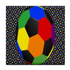 Team Soccer Coming Out Tease Ball Color Rainbow Sport Tile Coasters by Mariart