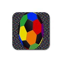 Team Soccer Coming Out Tease Ball Color Rainbow Sport Rubber Square Coaster (4 Pack)